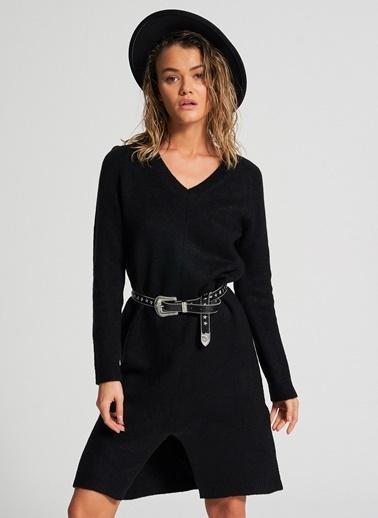 Pi π V Yaka Triko Elbise Siyah